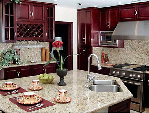 Maroon color kitchen cabinets for Burgundy kitchen cabinets pictures