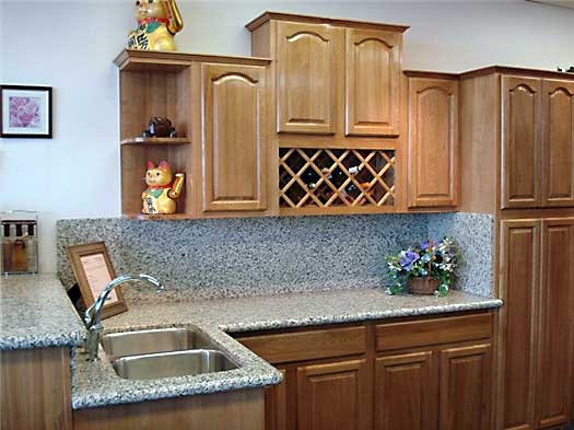 Arched oak kitchen cabinets and bathroom vanities for Cathedral arch kitchen cabinets