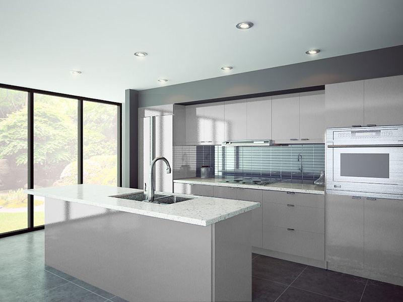 Brushed aluminum kitchen cabinets and bathroom vanities for Brushed aluminum kitchen cabinets