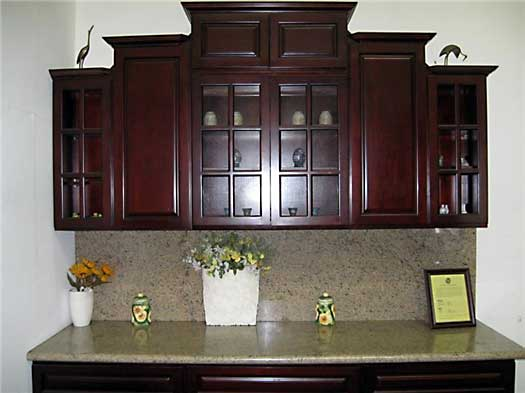 Deep burgundy kitchen cabinets and bathroom vanities for Burgundy kitchen cabinets pictures