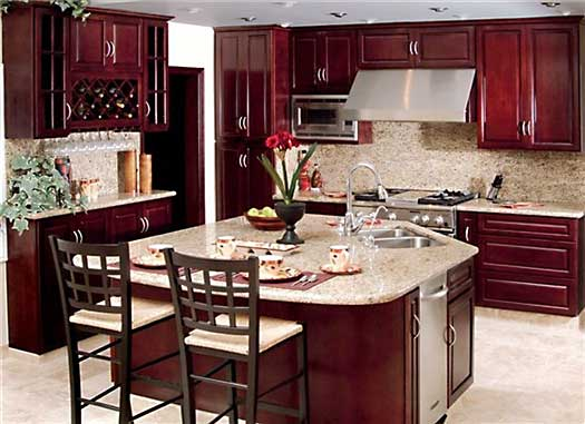 Deep Burgundy Kitchen Cabinets And Bathroom Vanities
